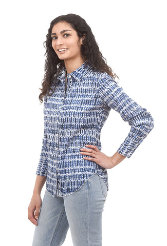 Cino Crinkle Cotton Shirt, Blue Shibori