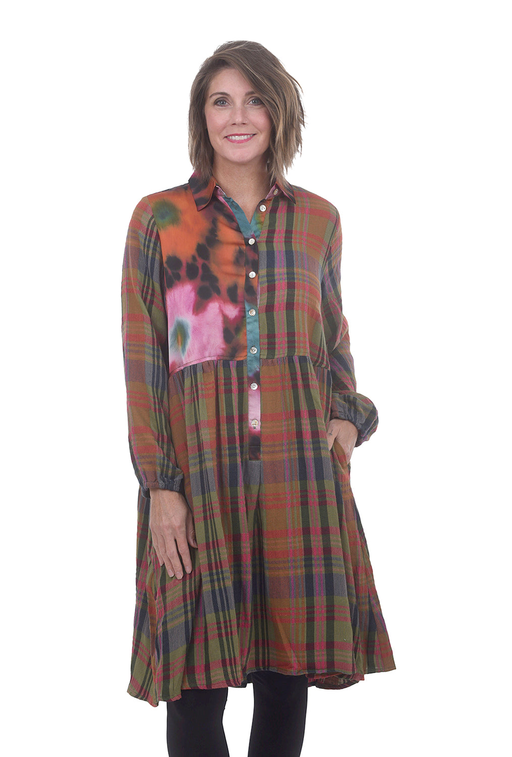Alembika Inset Floral Plaid Dress, Forest