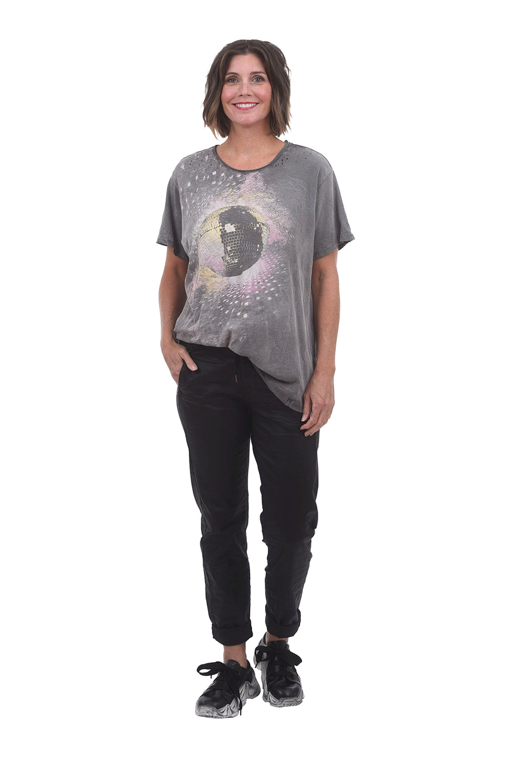 Magnolia Pearl New Boyfriend Tee, Ozzy Gray Disco One Size Gray