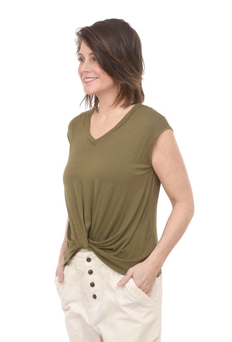 Coin1804 V-Neck Twist Front Tee, Army