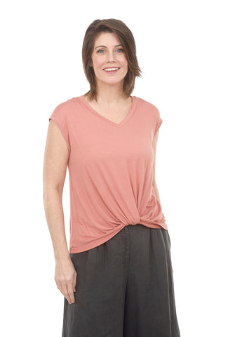 Coin1804 V-Neck Twist Front Tee, Peach