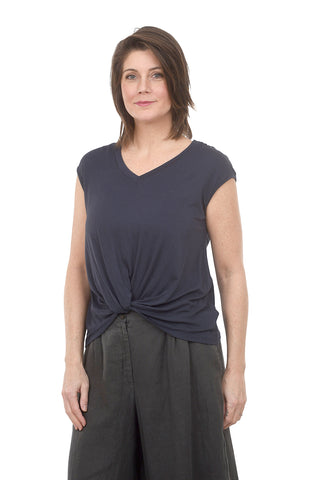 Coin1804 V-Neck Twist Front Tee, Navy