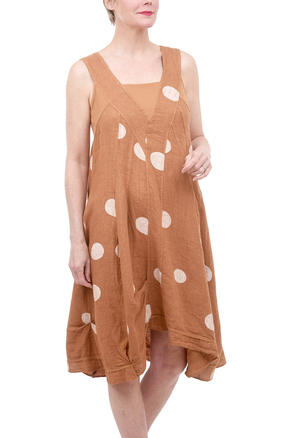 Lands Downunder Shapely Linen Dot Dress, Spice