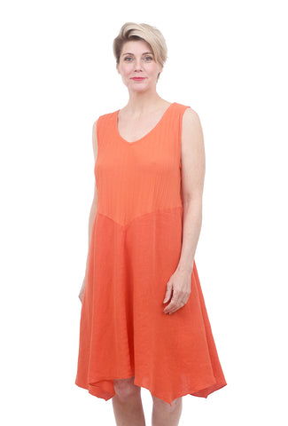 Fenini Rib-Bodice Dress, Orange