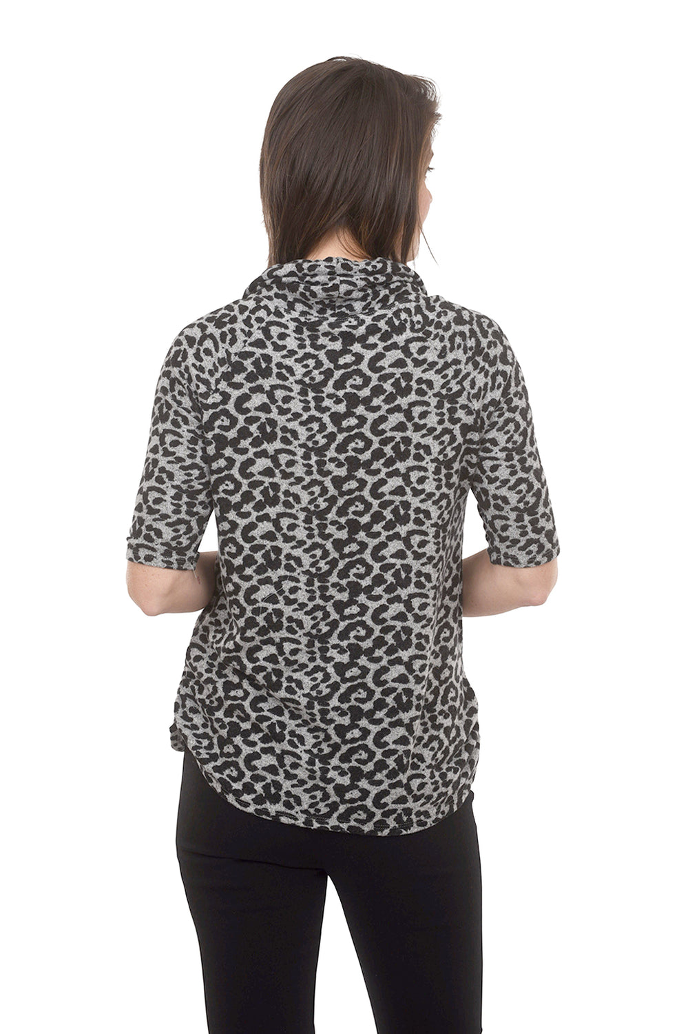 Coin1804 Leopard Print Cozy Top, Gray/Black