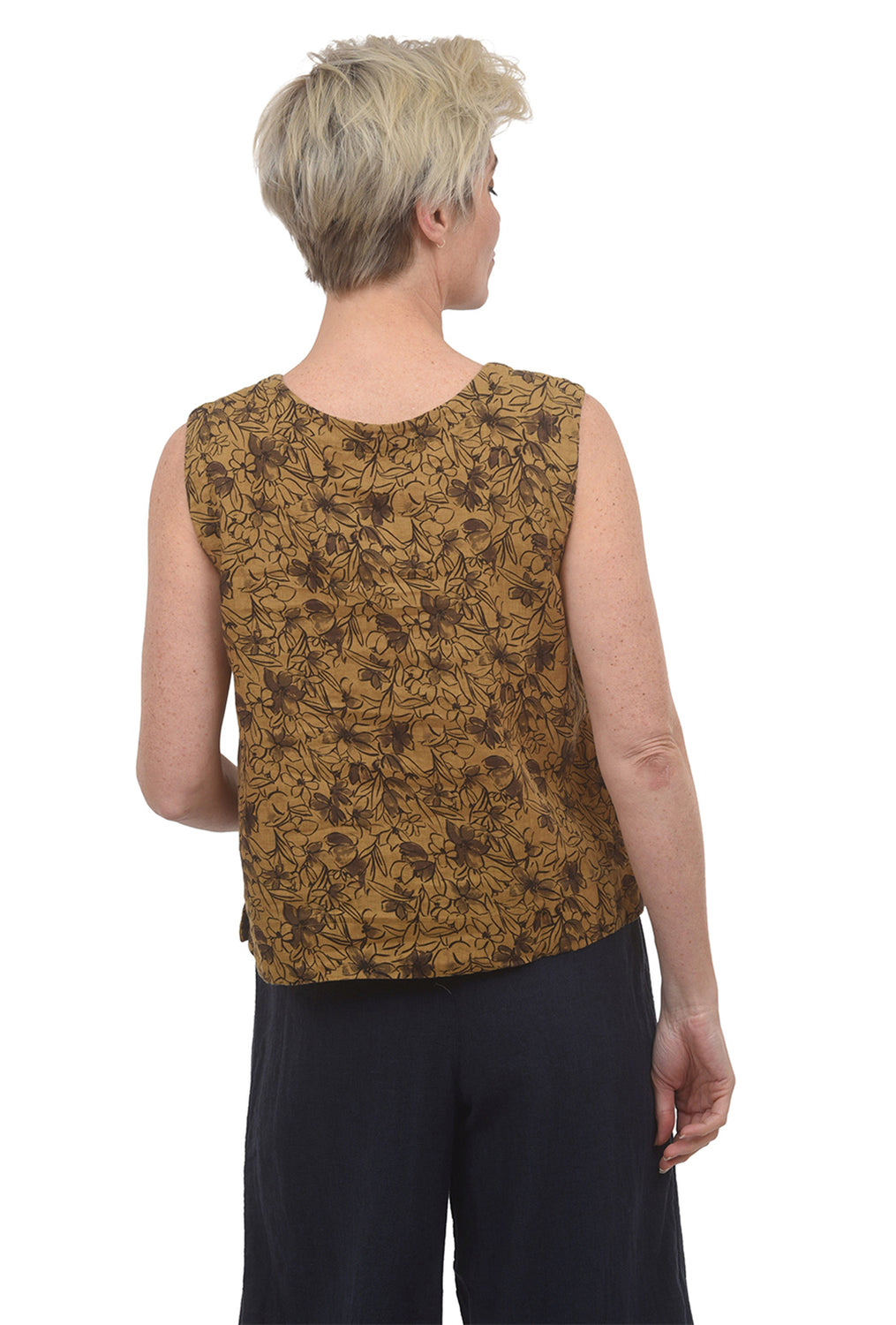 Cut Loose Floral Print Linen Shell, Brass
