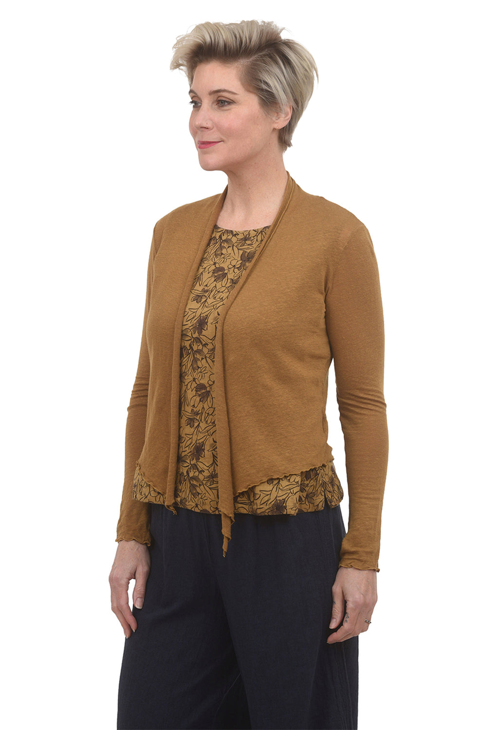 Cut Loose CL Linen Knit Cardie, Brass