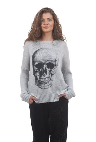Wooden Ships Lightweight Skull Crew Sweater, Barely Gray