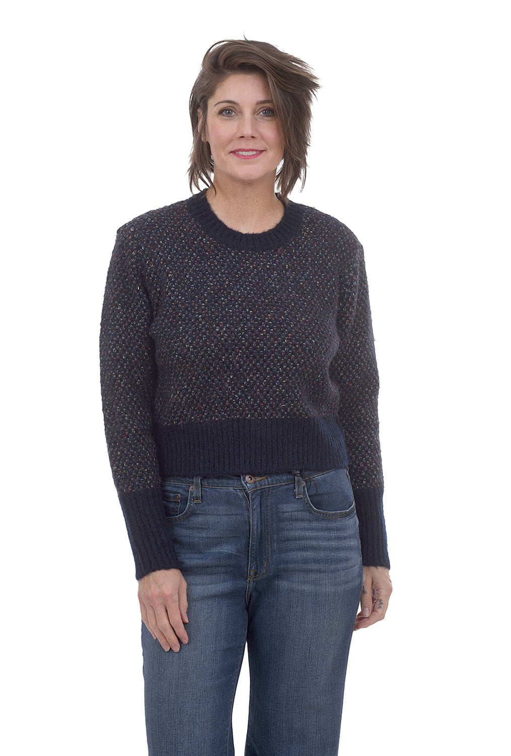 RD International Cozy Confetti Knit Sweater, Navy
