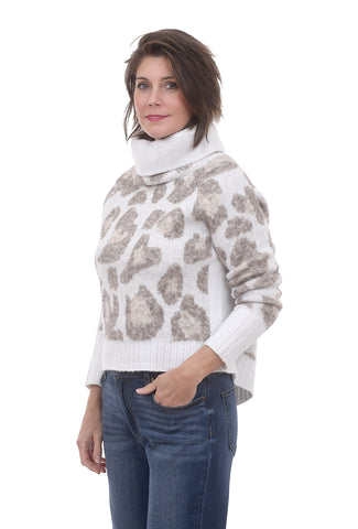 RD International Cowl Animal Print Sweater, Cream