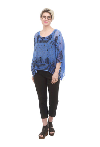 Yauvan Flocked Floaty Blouse, Miami Blue