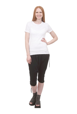 Lilla P Short-Sleeve Back Seam Tee, White