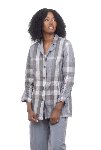 Liv by Habitat Crinkle Boyfriend Jacket, Neutral Gray Plaid