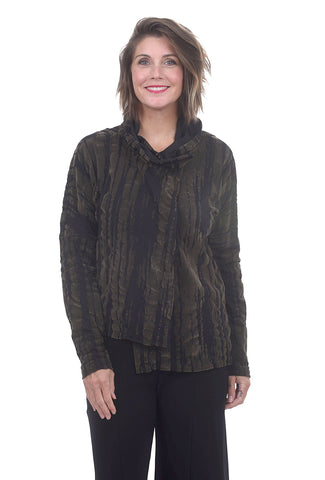 Crea Concept Burnout Velvet Jacket, Black/Olive