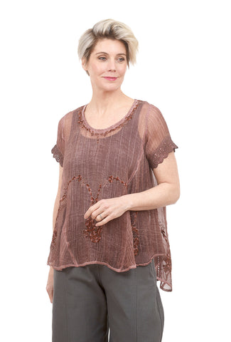 Yauvan Lace-Trim Sheer Blouse, Honey Brown