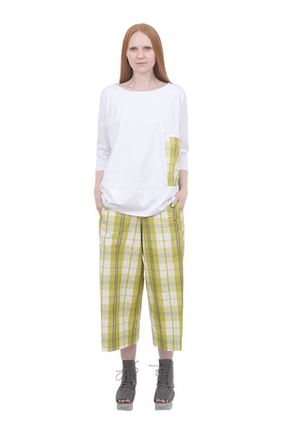 Alembika Plaid Inset Cocoon Top, White