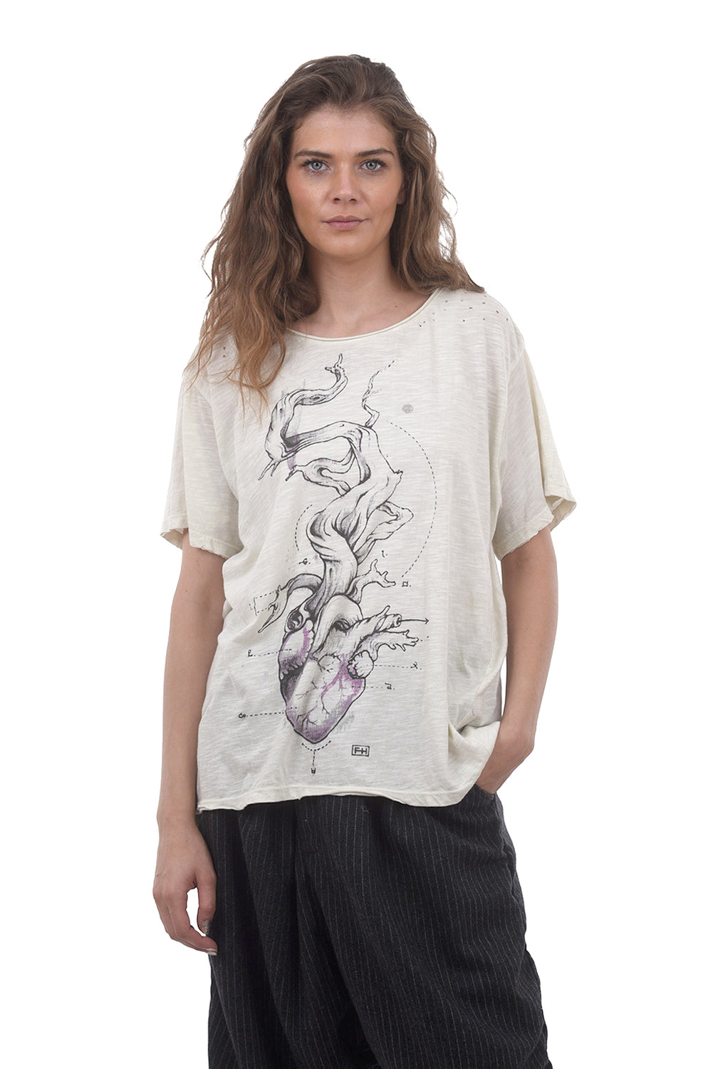 Magnolia Pearl New Boyfriend Tee, Tree of Love One Size Off-White
