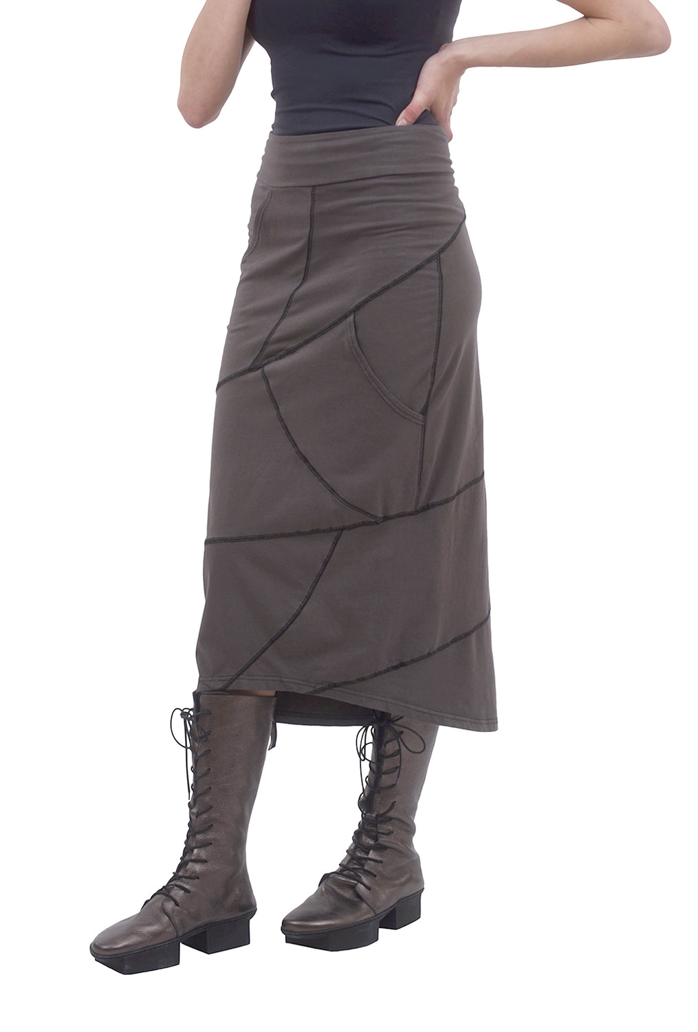Cynthia Ashby Helix Knit Skirt, Bark
