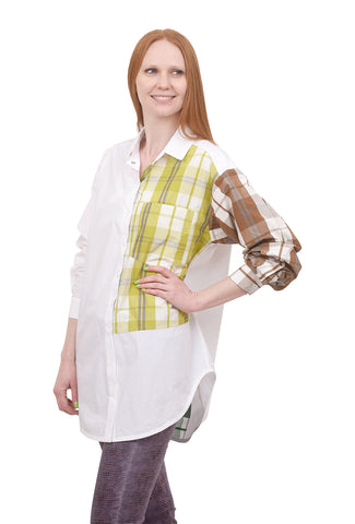 Alembika Plaid Inset Button-Down Shirt, Blonde