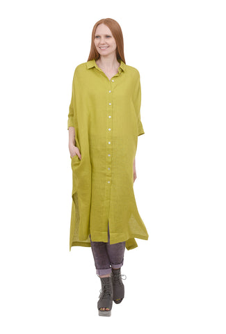 Alembika Linen Button-Down Shirtdress, Chartreuse