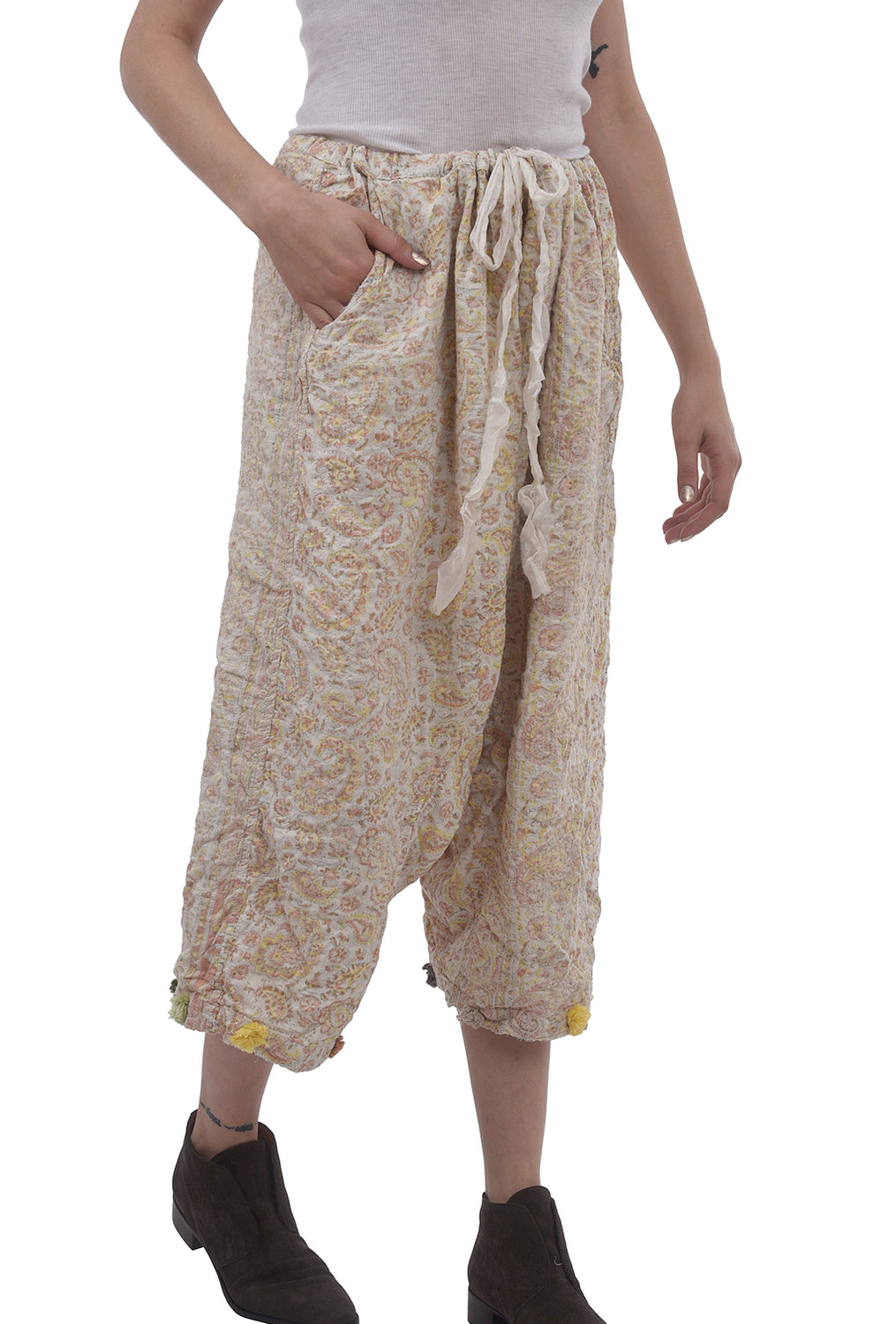 Magnolia Pearl Quilted Garcon Trousers, Cream Naranja One Size Cream