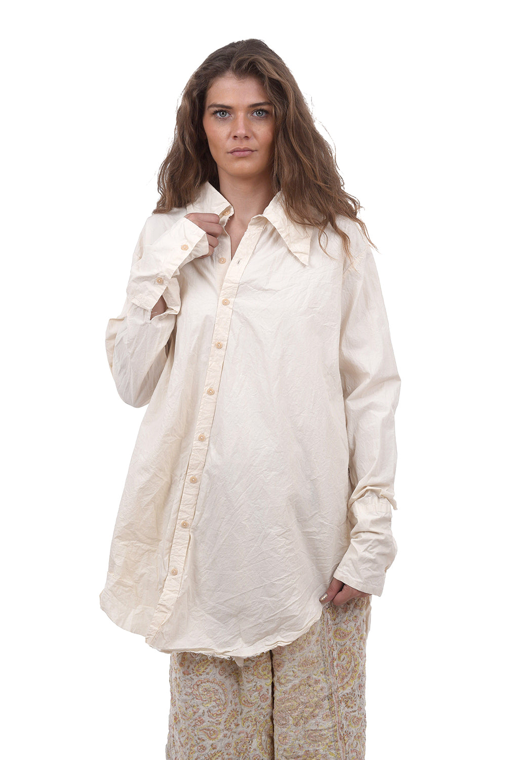 Magnolia Pearl Cotton Poplin Atticus Shirt, Natural One Size Natural
