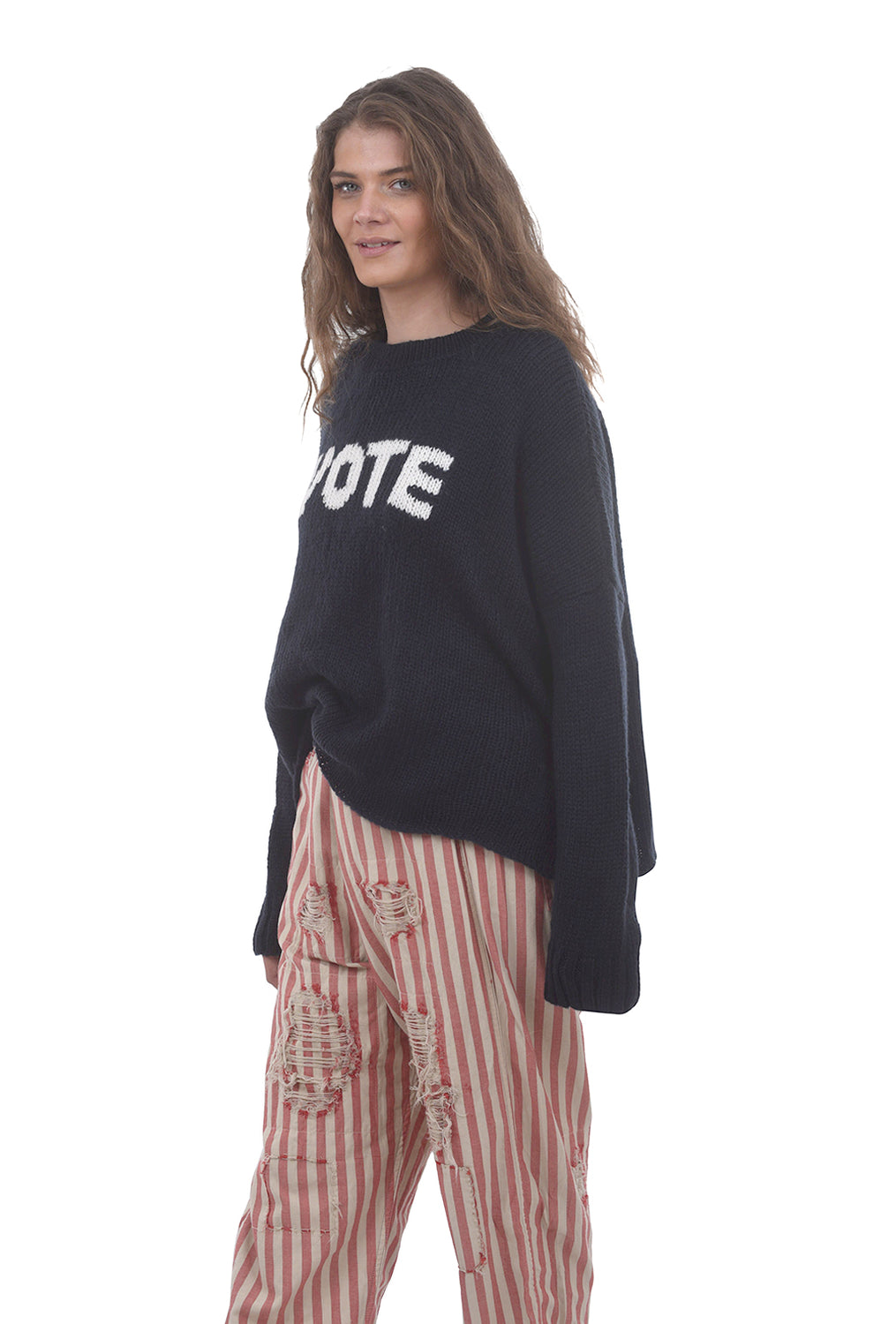Wooden Ships VOTE Chunky Sweater, Midnight Blue