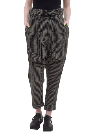 Rundholz Collection Extreme Rise Stripe Pant, Black