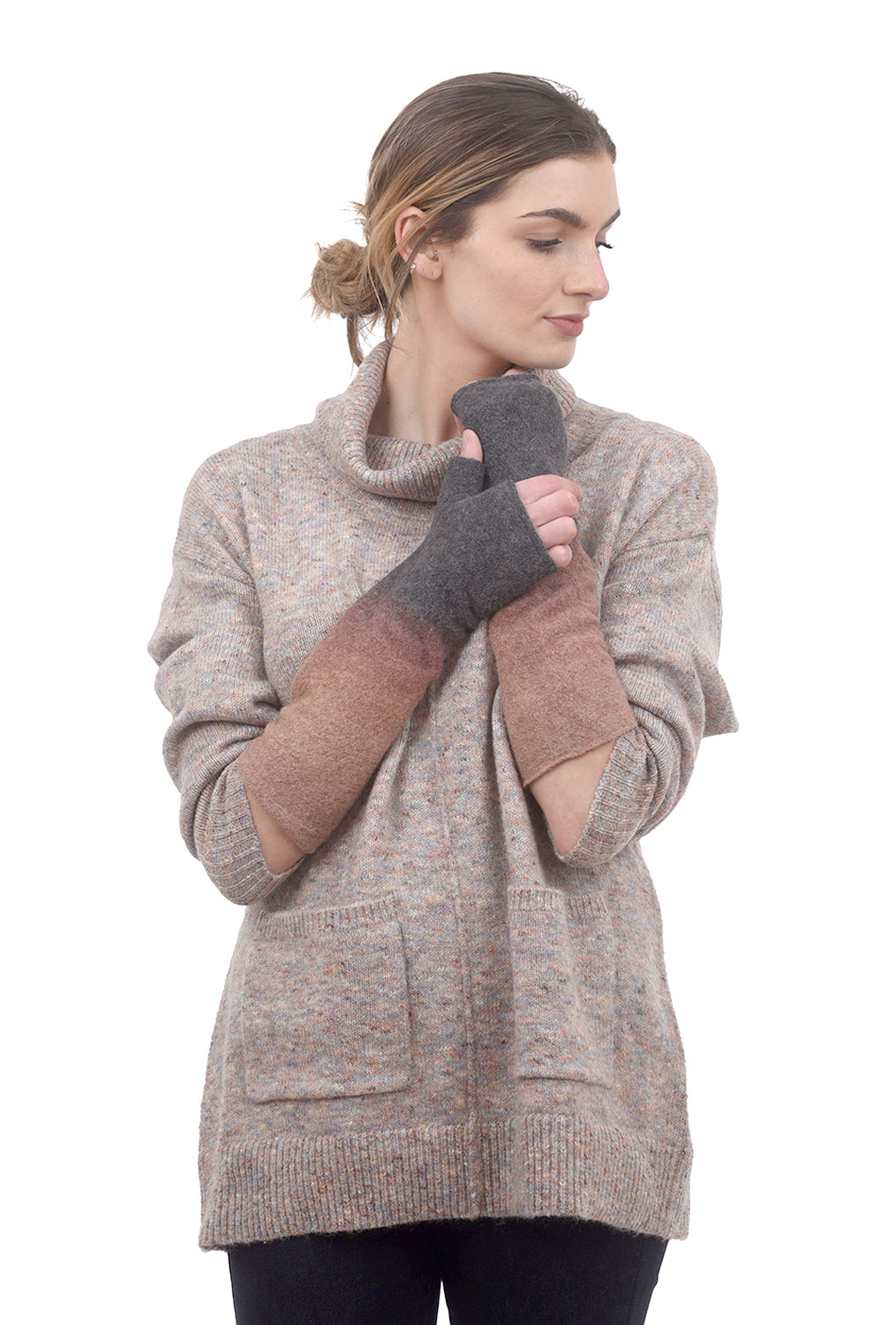 Arae Wool Gradient Handwarmers, Stone One Size Stone