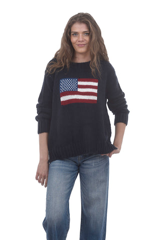 Wooden Ships Chunky Flag Sweater, Night Blue