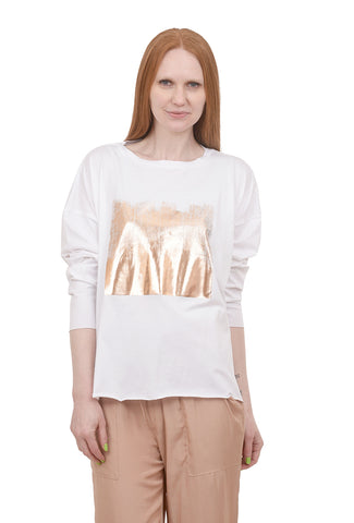 Planet Foil Boxy Tee, White/Rose One Size White