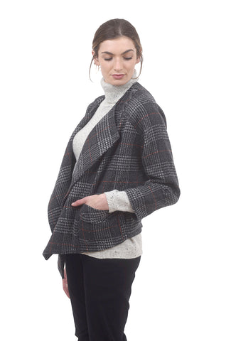 Sisters Cropped Sherlock Jacket, Gray Plaid