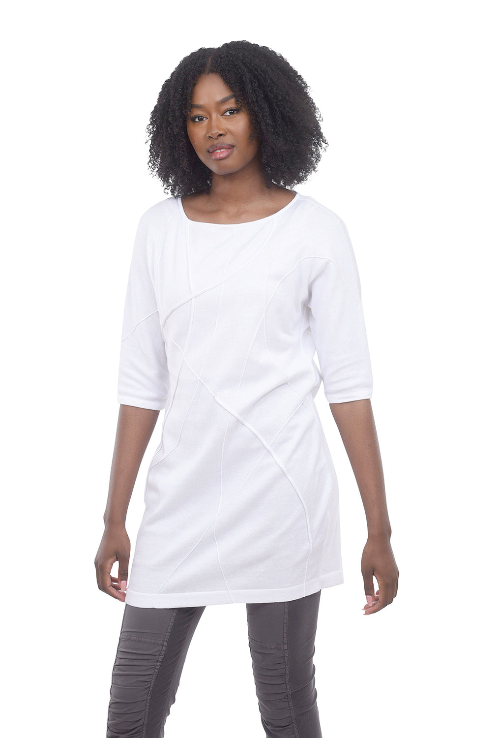 Beyond Threads Spiderweb Obi Tunic, White