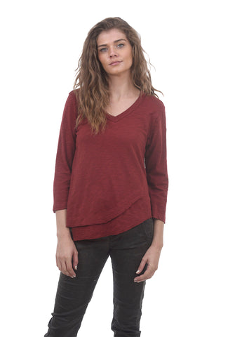 Wilt Fractured Shirttail Deep V-Neck, Raisin