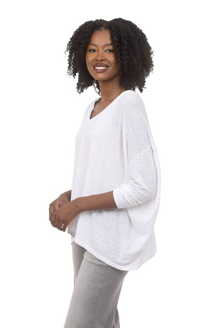 Cut Loose Linen Knit V Pullover, White