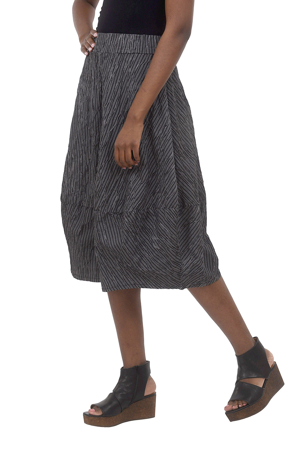 Cut Loose Crinkle Stripe Bubble Skirt, Black