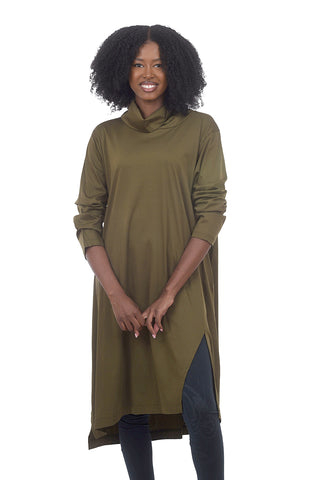 Moyuru Jersey Funnel Easy Dress, Olive One Size Olive