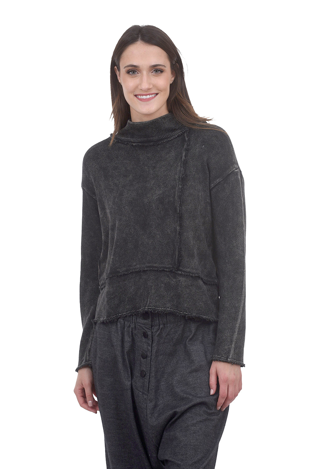 Beau Jours Evelyn Distressed Sweater, Black