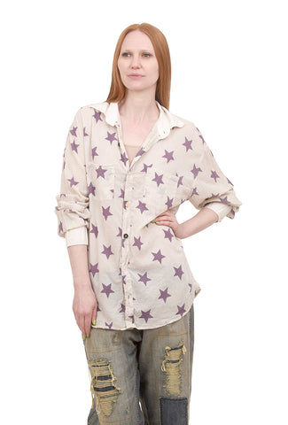 Magnolia Pearl Twinkle Cotton Boyfriend Shirt, Stars One Size Off-White