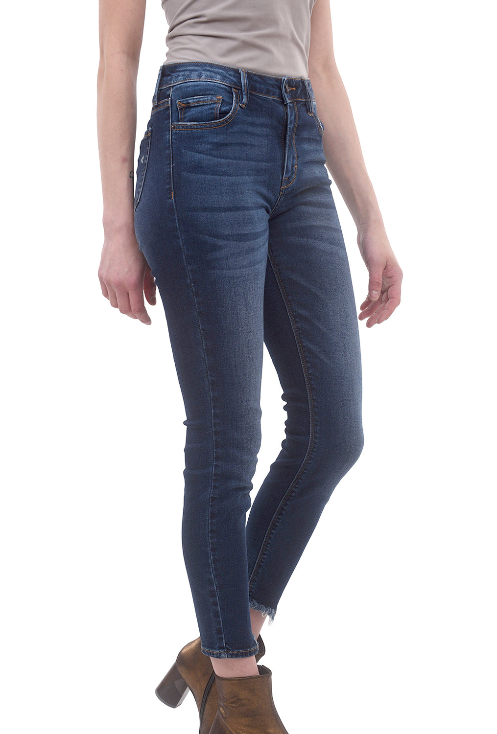 Hidden Denim Grinded Whisker Skinny, Dark Blue