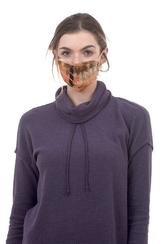 Coin1804 Coin Tie-Dye Face Mask, Indigo/Rust One Size Rust
