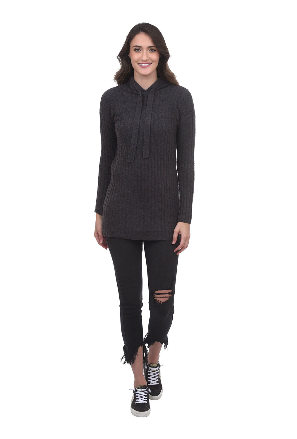 Barefoot Dreams CCL Hooded Rib Tunic, Carbon