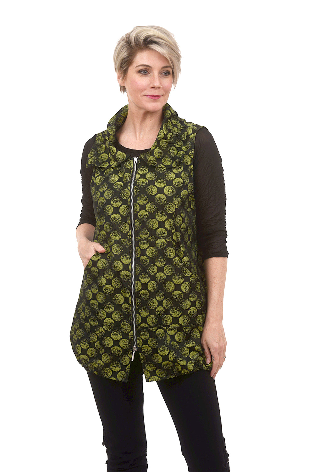 Liv by Habitat Chartreuse Dot Vest, Black