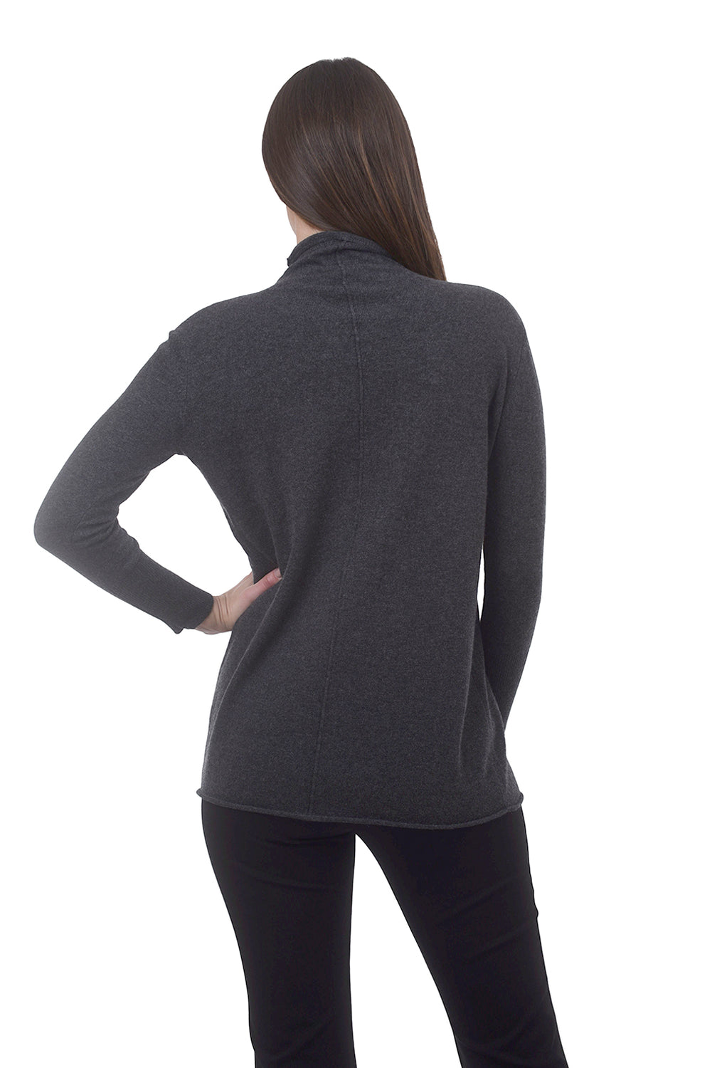 Kinross Cashmere Seamed Cashmere Funnel Tunic, Charcoal
