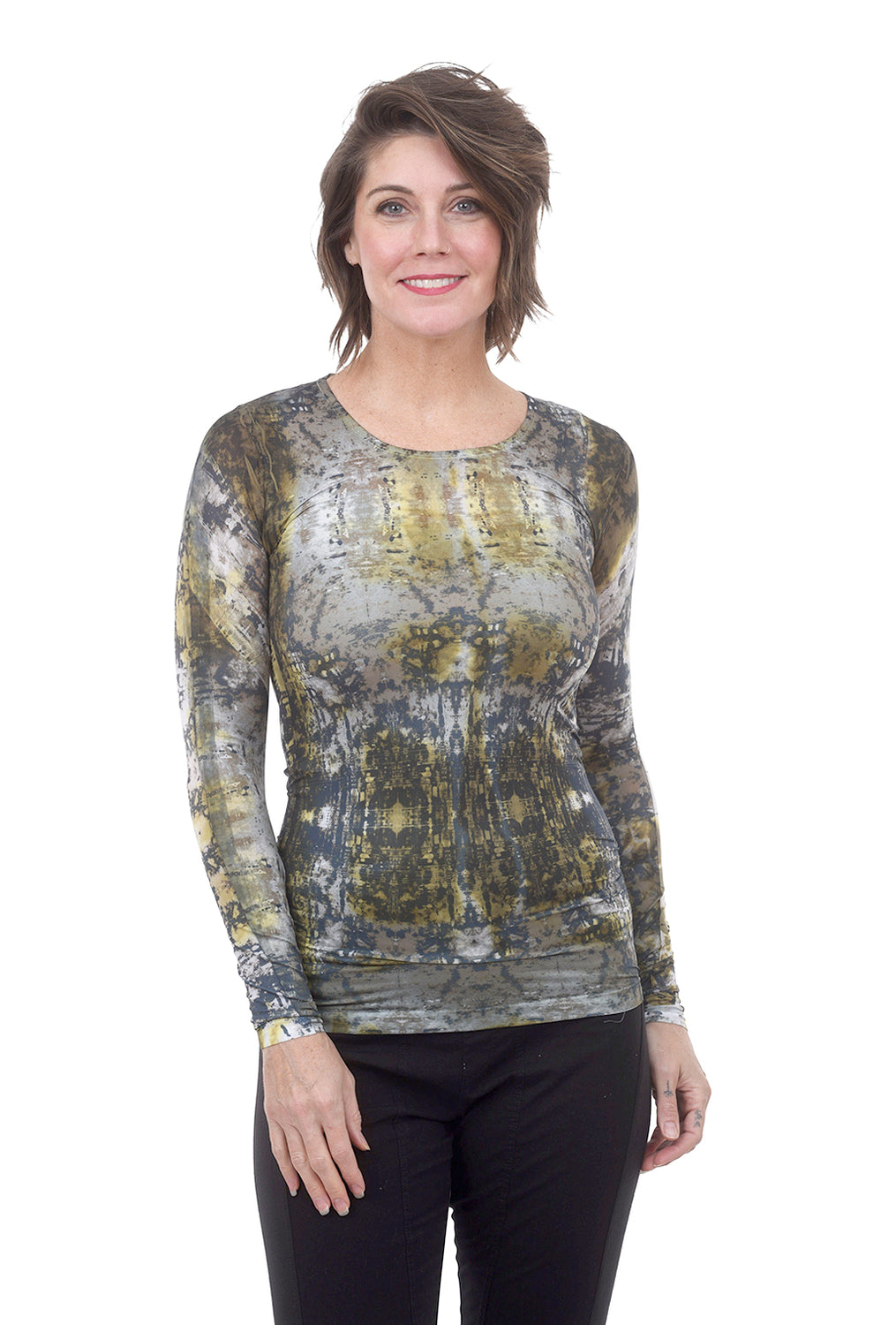 AMB Designs Crew Neck Layer Top, Marble Olive One Size Olive