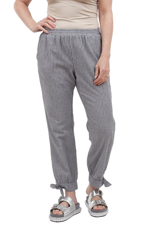 Bobi Tie-Detail Striped Pants, Black