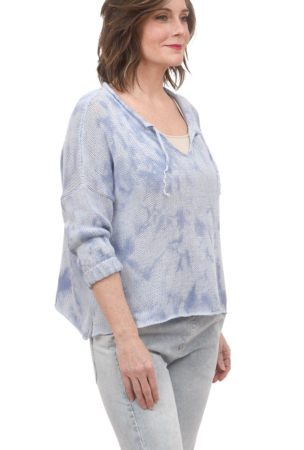 Wooden Ships Cove Split Tie-Dye Sweater, Slipstream Blue