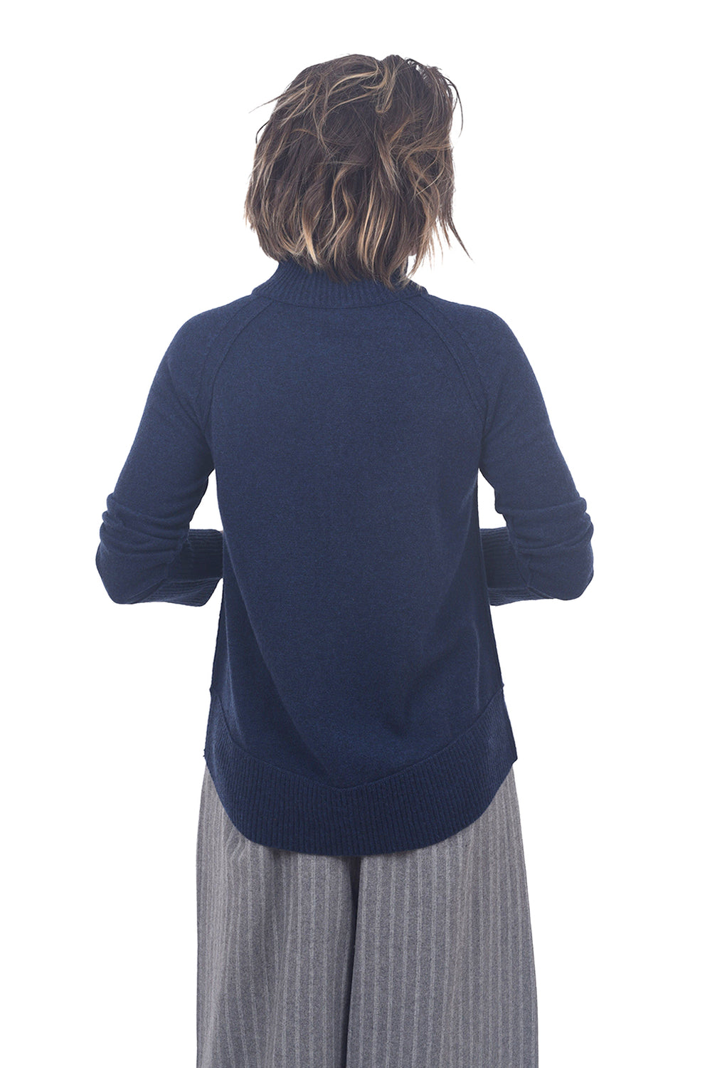 Kinross Cashmere Zip Cashmere Sport Cardie, Navy