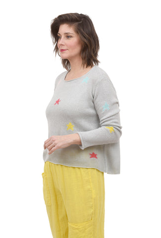 Wooden Ships Mixed Stars Crew Sweater, Barely Gray
