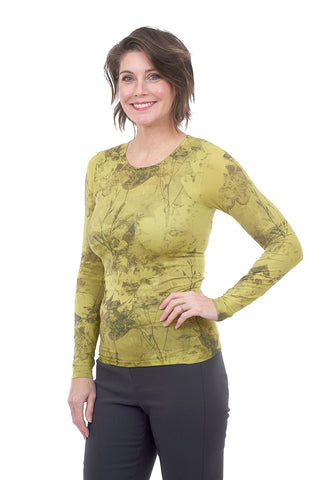 AMB Designs Crew Neck Layer Top, Flora Lime One Size Lime